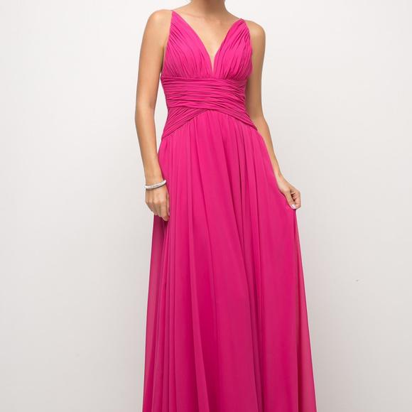 Cinderella's Closet Dresses & Skirts - Fuchsia V-Neckline Evening Long Dress